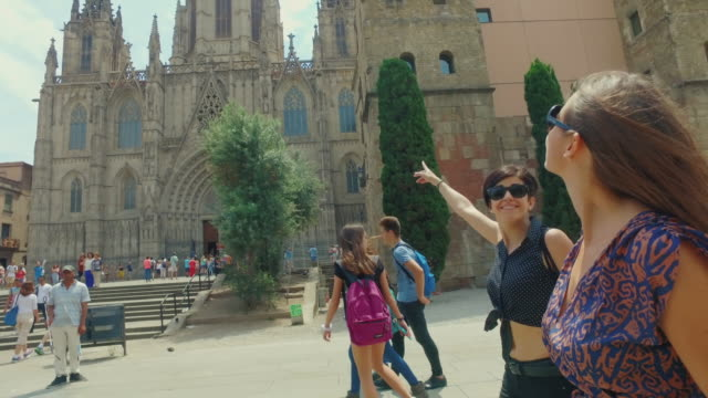 women friends in barcelona at summer - tourism stock videos & royalty-free footage
