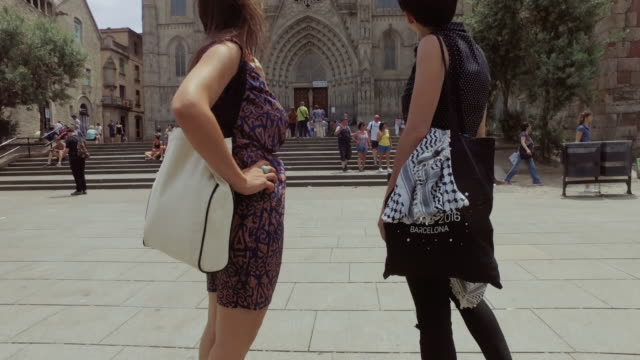 women friends in barcelona at summer - gothic quarter barcelona stock videos and b-roll footage
