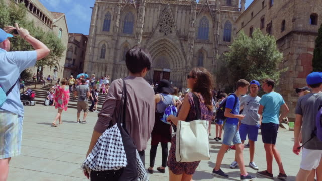women friends in barcelona at summer - gothic style stock videos & royalty-free footage