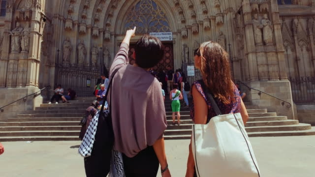 women friends in barcelona at summer - barcelona spain stock videos & royalty-free footage