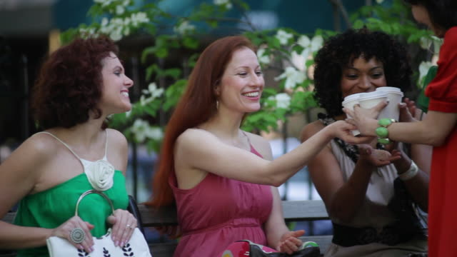 stockvideo's en b-roll-footage met cu women friends meeting on park bench / nyc, new york, united states - vier personen