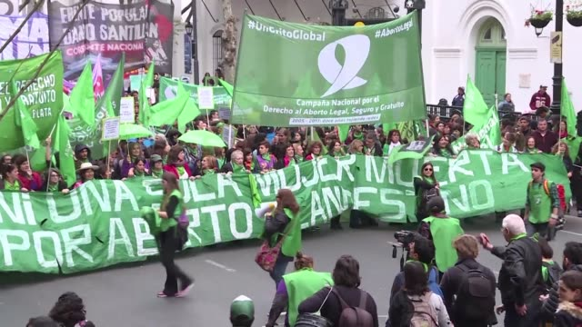Women from different feminist and political organizations protest in Buenos Aires demanding the decriminalization of abortion