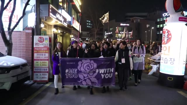 women gather in seoul to show support for the metoo campaign after a growing number of women have spoken out about abuses they suffered at the hands... - south korea stock videos and b-roll footage