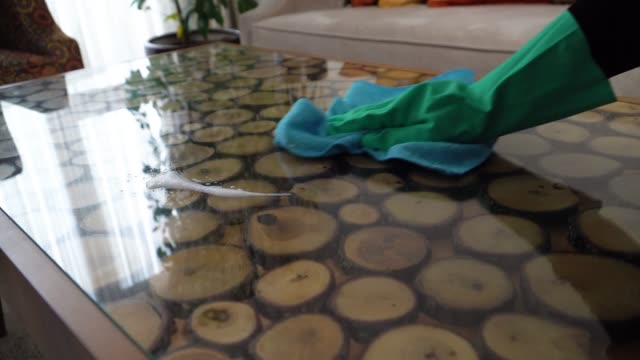women hand cleaning the table with cloth - dishcloth stock videos & royalty-free footage
