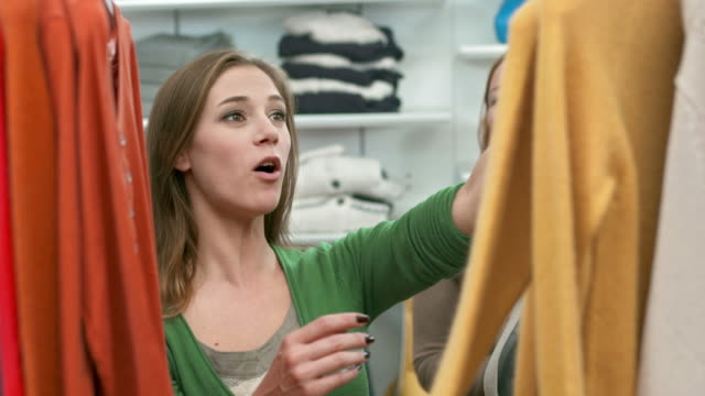 hd: women having fun shopping in boutique - retail stock videos and b-roll footage