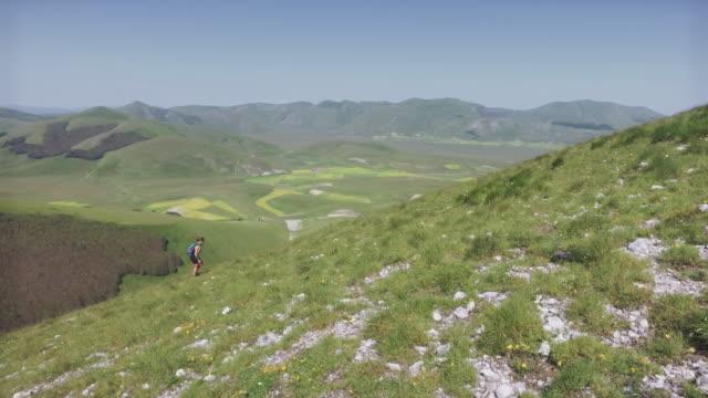 Women hiking in Italian Appennines mountains