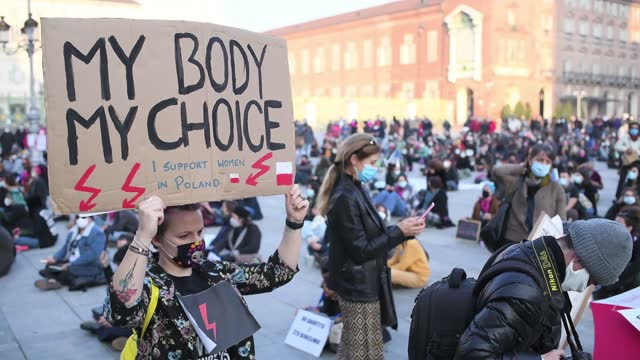 """women hold up placards during a protest over anti-abortion laws on october 31 in turin, italy. five hundred people including members of the """"non una... - law stock videos & royalty-free footage"""