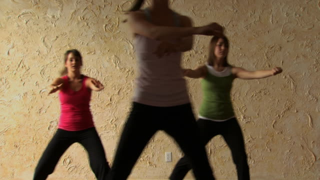 stockvideo's en b-roll-footage met women in an aerobics class - cardiovasculaire training