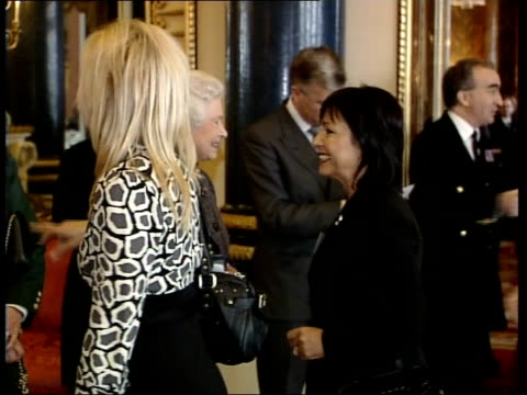 women in business reception at buckingham palace attended by senior female royals princess anne queen elizabeth ii camilla duchess of cornwall sophie... - inchinarsi video stock e b–roll