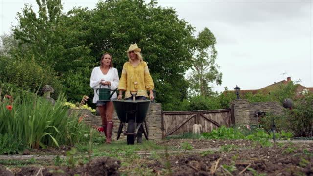 women in garden - gartengerät stock-videos und b-roll-filmmaterial