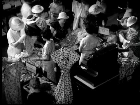 1937 ha ms women in hats shopping for dresses in department store - unknown gender stock videos & royalty-free footage