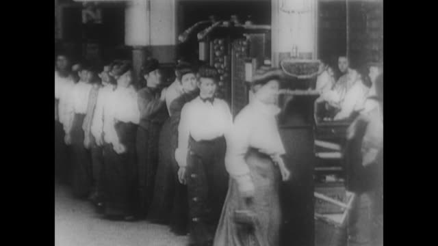 women in late victorian dress clocking out of the work place - victorian stock videos & royalty-free footage