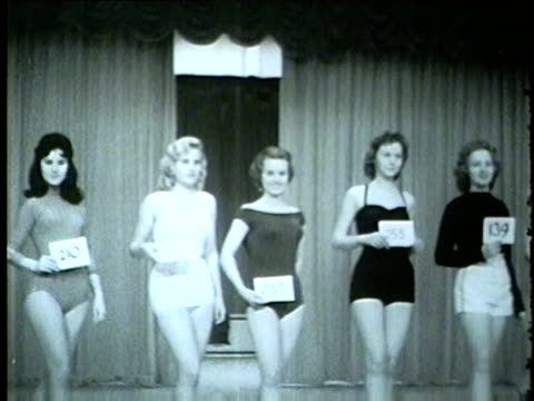 women in miss photoflash 1959 beauty pageant contest in chicago hosted by the chicago press photographers association on jan. 31, 1959. - 1959 stock videos & royalty-free footage