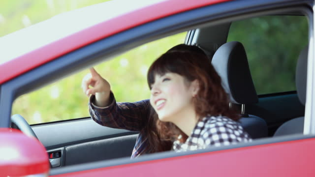 MS Women in red car and talking / Hakone, Kanagawa, Japan