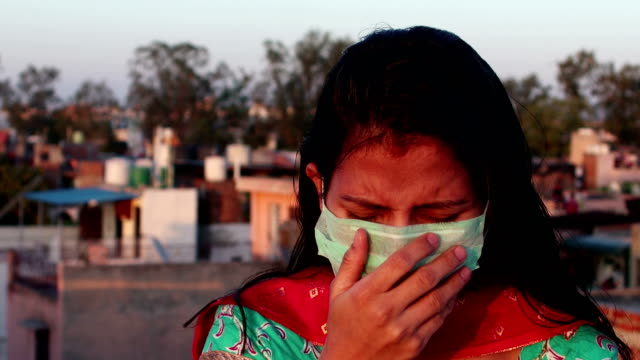 women infected by covid-19, new delhi, india - pollution mask stock videos & royalty-free footage