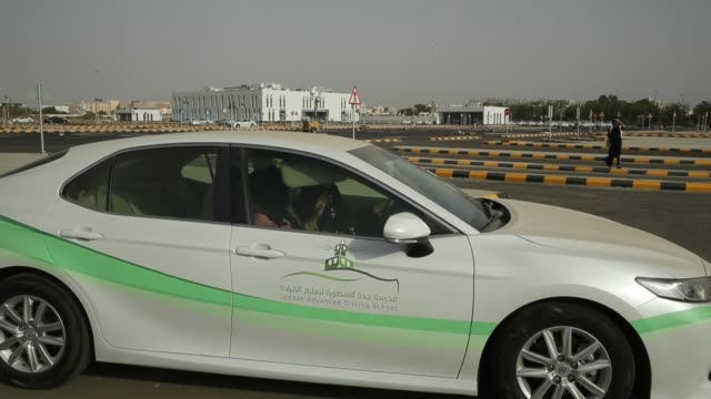 women instructors and students practice driving at the jeddah advanced driving school at king abdulaziz university the day after women are once again... - jiddah stock videos & royalty-free footage