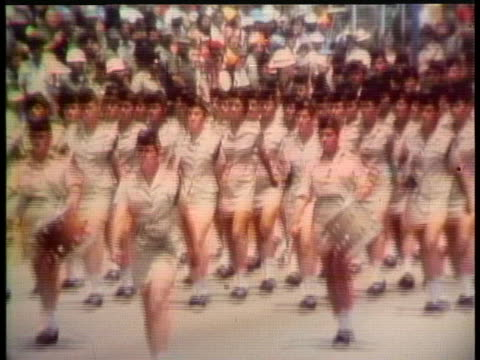 women israeli soldiers march in a military parade celebrating their country's 25th anniversary. - marching stock videos & royalty-free footage