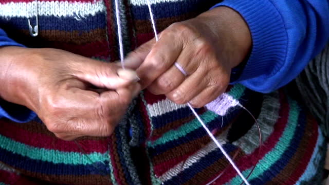 women knitting, bolivia, la paz - jumper stock videos & royalty-free footage