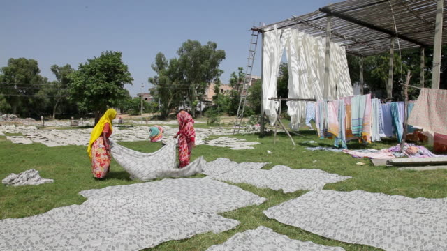 women lay out newly dyed fabric to dry at a sari garment factory in jaipur, india. - sari stock videos and b-roll footage