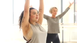 Women learning dance in fitness class