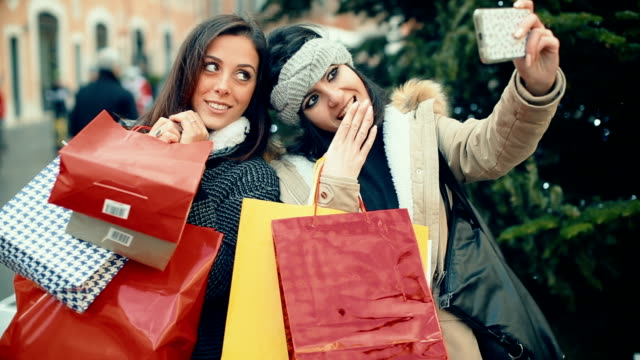women make a selfie during shopping - christmas shopping stock videos and b-roll footage