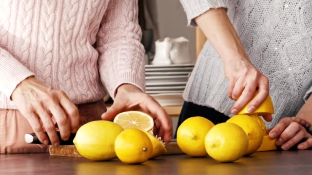 women making lemonade at the kitchen counter - lemon stock videos & royalty-free footage