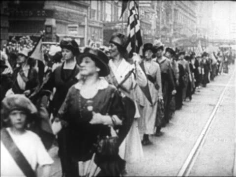b/w 1920 women marching in suffragette victory parade / boston / newsreel - marching stock videos & royalty-free footage
