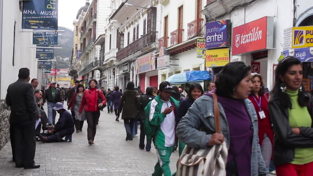 women, men, young people, children walking in the street - la paz bolivia stock videos & royalty-free footage