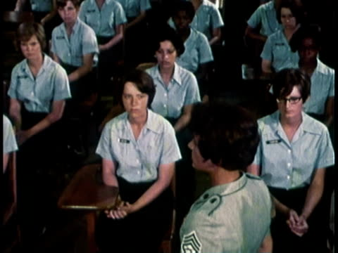 1968 ha women military in uniform sitting at desks listening to woman speak / united states  - 1968 stock videos and b-roll footage