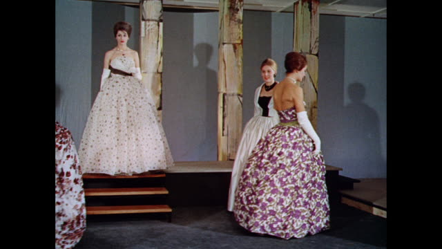 ws women model british strapless floor length dresses / uk - floor length stock videos & royalty-free footage