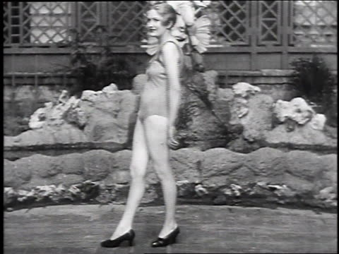 1930 montage women modeling bathing suits, may 14, 1930 / new york city, ny  - beauty contest stock videos & royalty-free footage