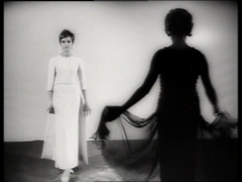 b/w 2 women modeling dresses / sound - haute couture stock videos and b-roll footage