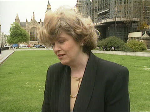 london: westminster: ext cms glenda jackson mp intvwd sof - i think we will have to move toward affirmative action cms cheryl gillan mp intvwd sof -... - itv news at one stock videos & royalty-free footage