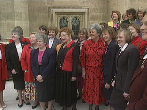 london: westminster: houses of parliament: ext women labour mp's lined up on terrace at westminster , jo richardson mp, margaret beckett mp, glenda... - itv news at one stock videos & royalty-free footage