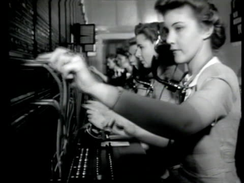 women operating radio at switchboard connecting agents from san francisco seattle amp los angeles for conference ms woman reporting agents 'on wire'... - switchboard operator stock videos & royalty-free footage