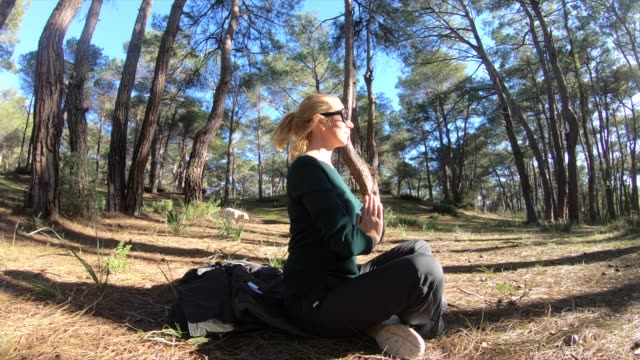 women outdoor meditation in forest - one young woman only stock videos & royalty-free footage