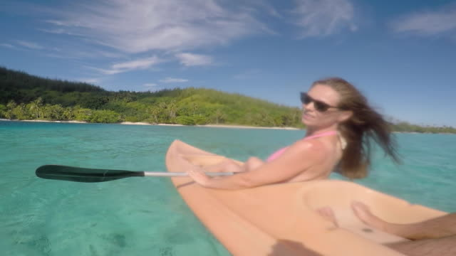 women paddling kayak - tahitian culture stock videos and b-roll footage