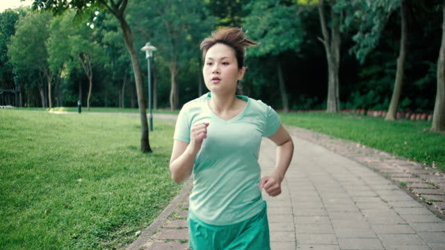 women park jogging - overweight stock videos & royalty-free footage