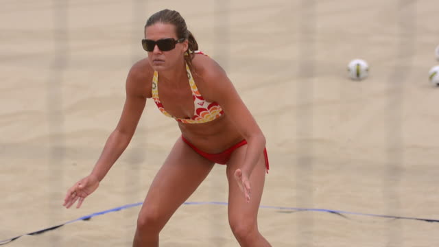 cu r/f women playing beach volleyball through net / redondo beach, california, united states - volleyball net stock videos & royalty-free footage