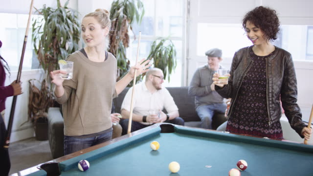women playing pool and having drinks - stag night stock videos & royalty-free footage