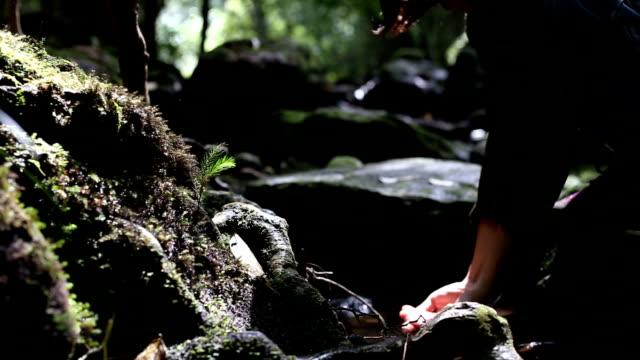 Frauen spielen mit klares frisches Wasser im Wald