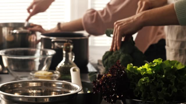 women preparing vegetable soup - broccoli stock videos & royalty-free footage