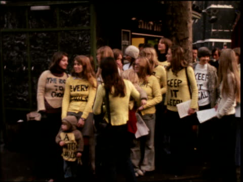 women protesters in pro-abortion rally outside house of parliament; 20 nov 73 - abortion stock videos & royalty-free footage