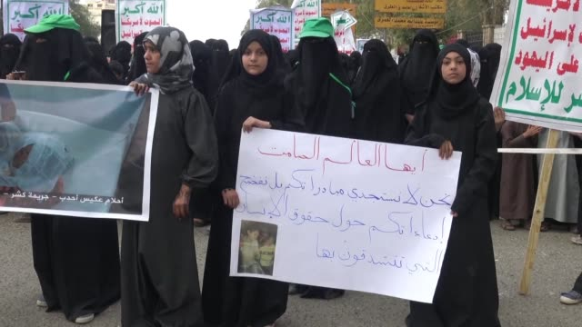 women rally in sanaa to condemn the killing of twelve children and 10 women by strikes in yemen's northern province of hajjah - middle east stock videos & royalty-free footage