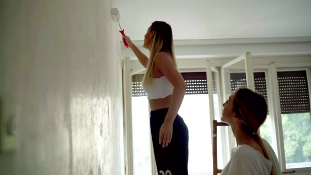 vídeos de stock e filmes b-roll de women redecorating a place to live - parede