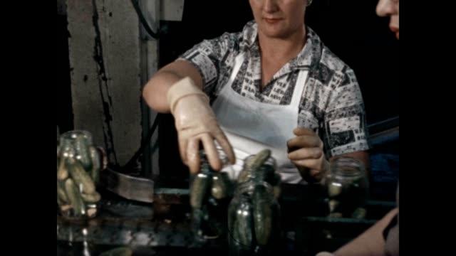 women select and pack pickled cucumbers. - 梱包機点の映像素材/bロール