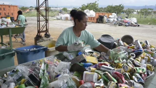 women separate trash for recycling at cooperativa de trabalho moreira recicla pindamonhangaba state of sao paulo brazil on wednesday november 4th... - trabalho no comércio stock videos & royalty-free footage