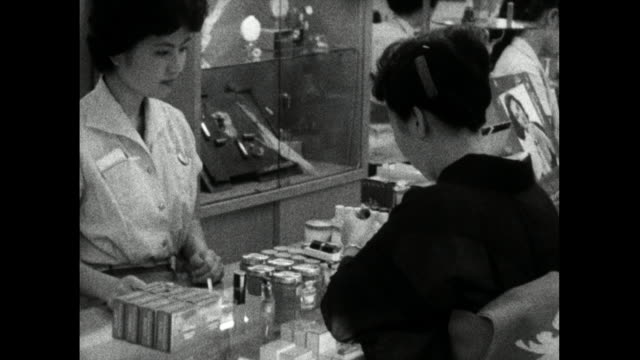 women shop in japanese department store; tokyo, 1959 - 1959 stock videos & royalty-free footage