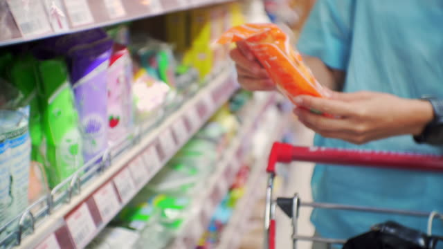 Women shopping in supermarket,Close-up