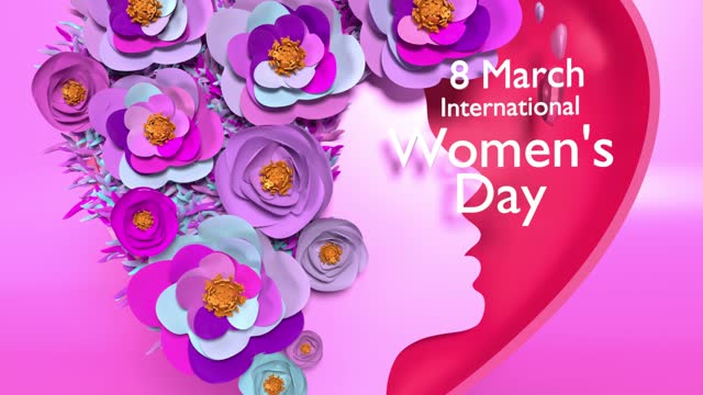 women silhouette with flowers making a heart shape to celebrate 8 march international women's day animation in 4k resolution - number 8 stock videos & royalty-free footage